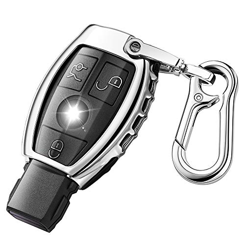 QBUC for Mercedes Benz Car Key Fob Cover,Soft TPU Key Case Key Shell Cover Protector with Keychain Compatible with C E S M CLS CLK G Class Keyless Smart Key Fob(Sliver)