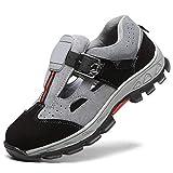 Zapatos de Seguridad Ante Cuero Hombres Zapato de Trabajo con Tapa de Punta Acero Sandalia Transpirable S1,Gray,43EU