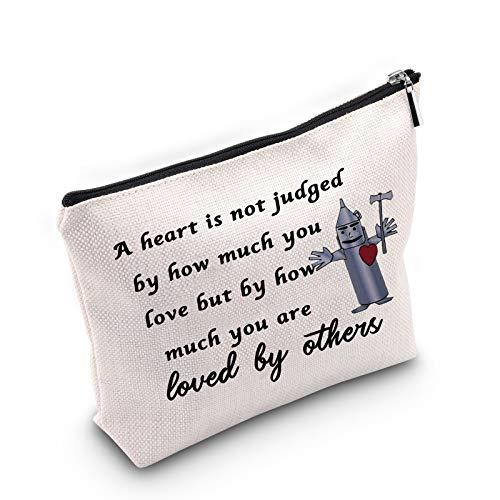 Cadeau inspiré du Magicien d'Oz Tinman « A Heart is Judged by How Much You are Loved by Others » - Trousse de maquillage en étain - Cadeau idéal pour les meilleurs amis