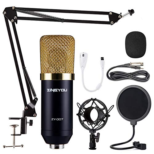 ZINGYOU Micrófono de Condensador Kit, ZY-007 Micro Set Estudio Profesional, Microfono Escritorio Cardioide con Pie&Brazo para PC,Grabar,Gaming,Podcast(Oro)