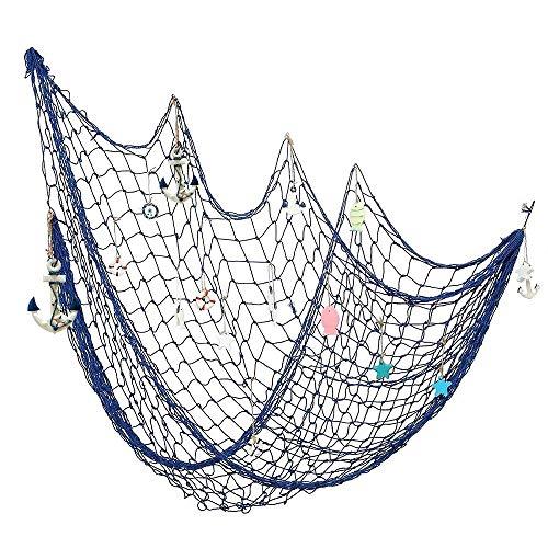 Gudotra Decorativa Red de Pesca Náutica Estilo de Mediterránea Pirate Beach Decoraciones del Partido del Tema Pared Decoración (Azul)
