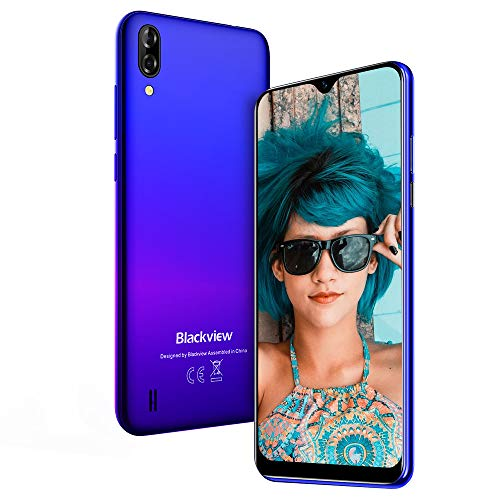 "Teléfono Móvil, Blackview A60 Smartphone de 6.1"" (19.2:9) Waterdrop Screen Movil, 16GB ROM, 128GB SD, 13MP+2MP+5MP, Android 8.1 Teléfono Libre Dual SIM, 4080mAh Batería"