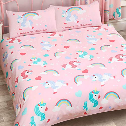I Believe in Unicorns Double Duvet Cover and Pillowcase Set Pink Bedding New