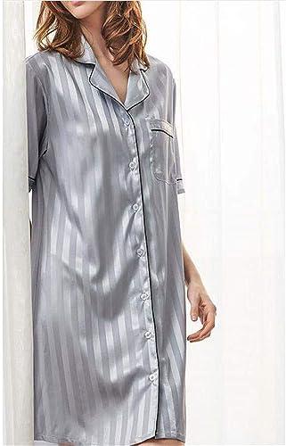 ZSDGY Piñamas de Seda Atractivos para el Hielo Servicio a Domicilio de Manga Corta Suelta Camisa de Seda Estilo simulación B-M