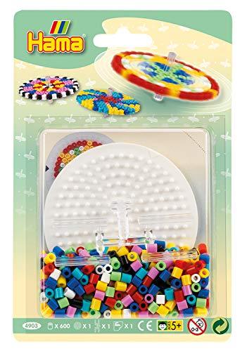 Hama Perlen 4903 Set Kreisel mit ca. 600 bunten Midi Bügelperlen mit Durchmesser 5 mm, Stiftplatte, Verbinder, inkl. Bügelpapier, kreativer Bastelspaß für Groß und Klein