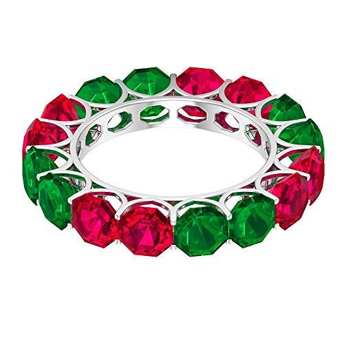 Rosec Jewels 10 quilates oro blanco Octagon Shape Red Green Rubí, relleno de vidrio Relleno de cristal rubí.