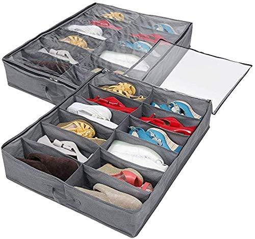 Caja de almacenamiento de cama-2 juegos, un total de 24 rejillas de almacenamiento de la cama gris