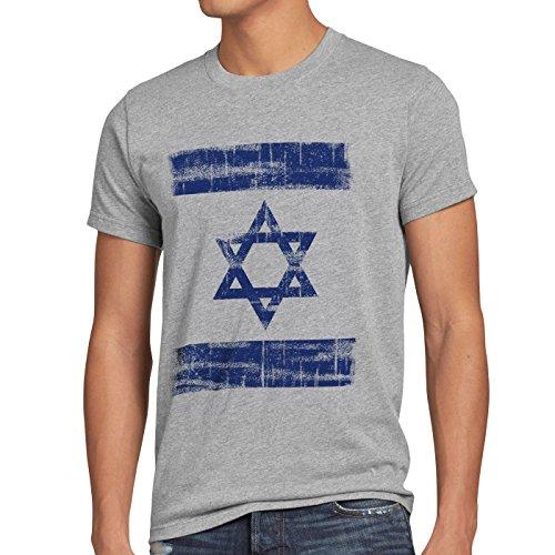 Israel Vintage Flagge Herren T-Shirt David Stern, Größe:M, Farbe:Grau meliert