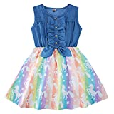 Girls Easter Sleeveless Denim Tops Dress 8t Rainbow Unicorn Printing Skirts Twirl Sundress One Piece Swing Dresses Outfits Summer Frocks for School Party