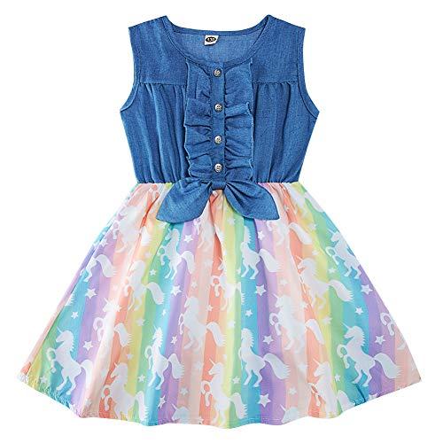 AIDEAONE Kleid für Mädchen Denim Kinder Sommerkleid Rock Ärmellos Sommer Einhorn Print Partykleid 4-5 Jahre