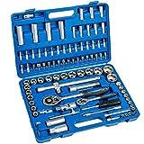 TecTake Coffret de clés à cliquets de 94 pièces set compact clés à douilles 1/2 pouce et 1/4 pouce