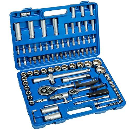 TecTake Caja de trinquete de 94 piezas kit tuercas herramientas bits y llaves de vaso (1/2 y 1/4 pulgada)