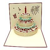 誕生日ケーキ 3Dポップアップカード お誕生日おめでとうカードハッピーバースデーケーキ 結婚祝い カード お祝い 友達 感謝 記念日 出産祝い 母の日 カード 手作りグリーティング カード 封筒付き