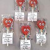 Piruletas de Agradecimiento 50 unidades con forma de corazón
