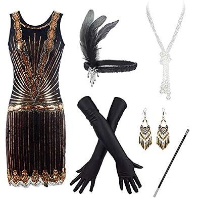 Women's Flapper Dresses 1920s Beaded Fringed Great Gatsby Dress Accessories Set