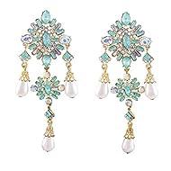 Vintage Rhinestone Drop Earrings Dangles Dazzling Crystal Stone Pearl Jewelry Earrings