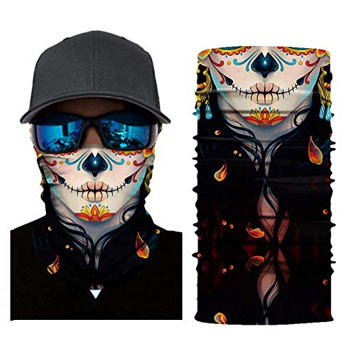 RKWEI NahtloseBandanas 3D Clown Print Warm Multifunktionaler Magic Scarf Elastic Seamless Bandana Nackenschutz Fahrradschal Sonnen- Und Uv-Schutz Outdoor Headwear-C
