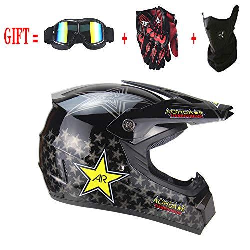 Motocross Sturzhelm mit Schutzbrille Handschuhe Maske, Motorrad DH Offroad Enduro ATV BMX MTB Downhill Dirt Bikes Quad Motorrad Cross Country Helm für Männer Frauen Jugend Junior,Black,S(55~56CM)