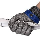 ThreeH Guantes resistentes al corte de acero inoxidable 316L Guantes de malla de alambre Guante de trabajo de protección de nivel 5 GL09 XS(Un guante)