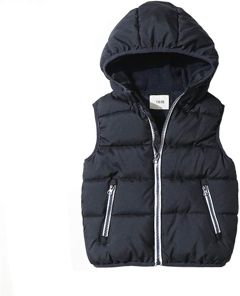 ABALACOCO Boys' Outwear Hoodie Vest Coat Waistcoat Fleece Lined Thick Full Zip Jacket Daily School Sport Wear (7-8 Years, Navy Blue)