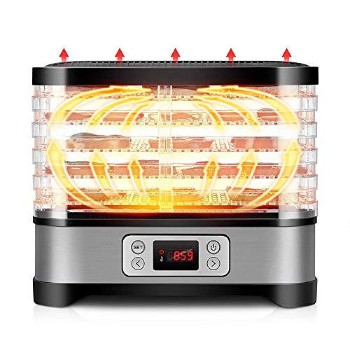 HAJZF Máquina Deshidratadora De Alimentos, Temporizador Digital Y Control De Temperatura, 5 Bandejas, Secador De Alimentos para Mascotas, para Secadores De Carne De Vacuno Y Frutas Y Verduras
