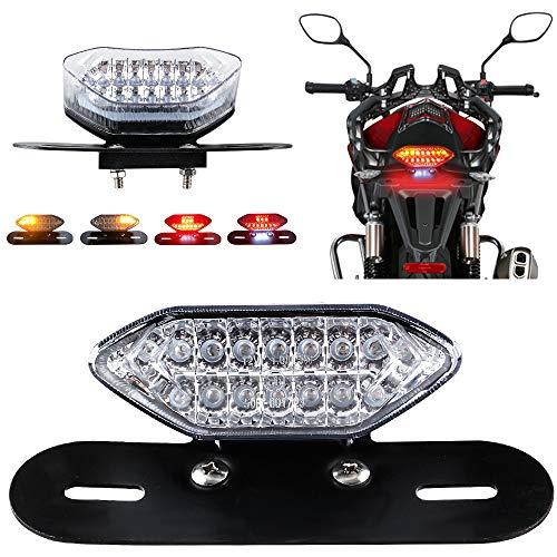 KaiDengZhe Fanali Posteriori a LED per Moto Luci di Stop Integrate e Indicatori di Direzione Indicatore Luminoso 5W 20LED Luci di Freni da Moto Lampada Staffa per targa (Lente Trasparente)