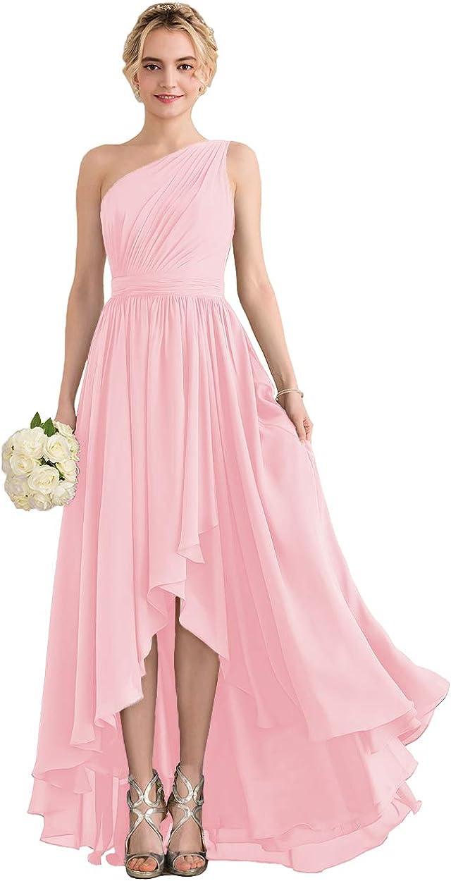Award-winning store Miao cheap Duo Women's One Shoulder Low Bridesmaid Chiffo Dresses High