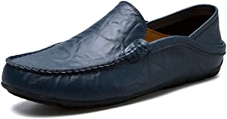 ZiWen Lu Man Driving Loafer Casual OX Leather Soft Sole Solid Color Slip On Leisure Boat Moccasins (Color : Blue, Size : 5.5 UK)