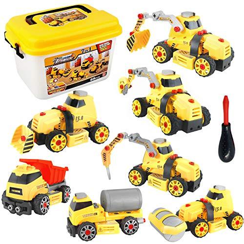 Juguetes de Construccion para Niños Camiones Juguetes Desmontar y Ensamblar Siete en Uno, Niños 4 5 6 7Años