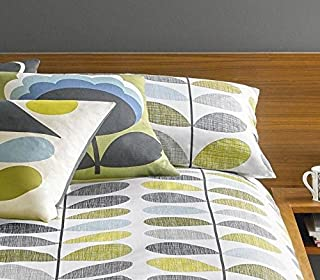 Orla Kiely Scribble STEM Duck Egg Blue Green 100% Cotton 200TC Pair of Housewife Pillowcases
