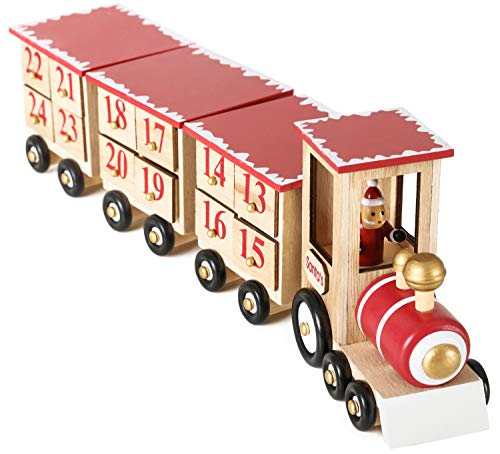 BRUBAKER Reusable Wooden Advent Calendar to Fill - Red Locomotive with 24 Doors - DIY Christmas Calendar 18.70 x 3.74 x 5.51 inches