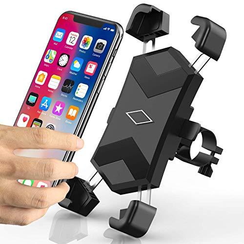 Niluoya Handyhalterung Fahrrad, 360° Drehbar Universal Smartphone Halterung Fahrrad Motorrad Handyhalter, Anti-Shake Handy Fahrradhalterung für iPhone, Samsung Galaxy, Huawei, 4,5-7,2 Zoll