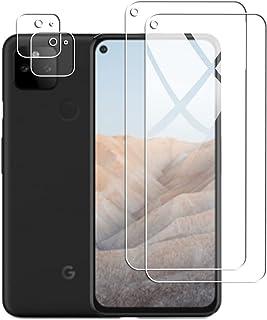 【2枚入】For Google Pixel 5A 5G フィルム + 【2枚入】Pixel 5A カメラフィルム Fitudoos 旭硝子製 硬度9H ガラスフィルム 2.5D ウンドエッジ加工 強化ガラス 高透過率 耐指紋 自動吸着 撥油性 ...