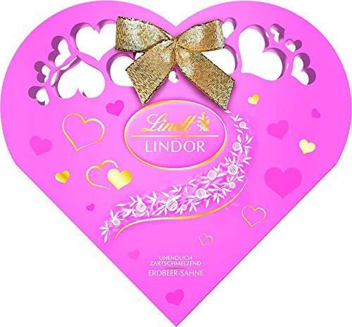 Lindt LINDOR Herzpackung Geschenk, zartschmelzende Erdbeer-Sahne Schokoladenkugeln, 1er Pack (1 x 200 g)