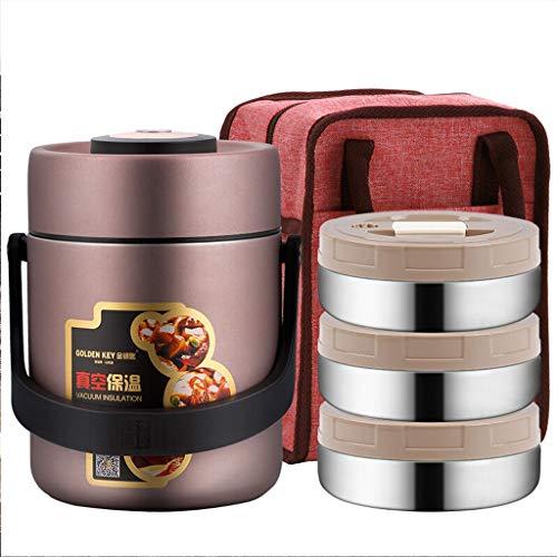NQ-ChongTian Pot d'isolation 304 boîte à Lunch à Trois Couches sous Vide Anti-débordement Baril d'isolation 1,7L