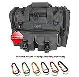Nexpak USA TF115GMG Gunmetal Grey Small 15' Inch Waterproof Tactical Molle Range Duffel Duffle Bag Hiking 1600 Cu in + Key Ring Carabiner