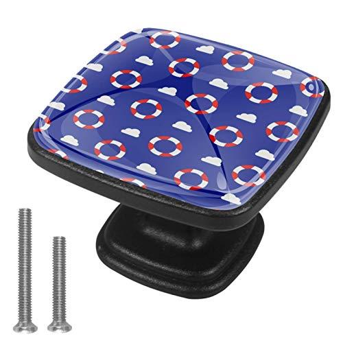 Pack de 4 pomos de armario de cocina, tiradores cuadrados para cajón, herrajes náuticos azul salvavidas