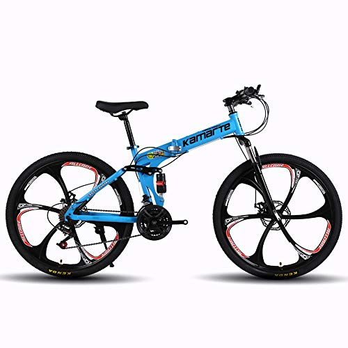MoMi 6-Knife Wheel Folding Mountain Bike 24/26 inch high Carbon Steel 24/27/30 Speed disc Brake Speed Male and Female Bicycle,Blue,26in/30speed