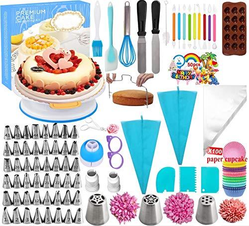 Nifogo Attrezzatura per Decorazione Torte,Set Decorazioni Torte Pasticceria,Decorazione la Torta Kit di Utensili, Ugelli Torte,per Torte, Biscotti, Pasticceria,Dolci, Cioccolato e Cupcakes (290PCS)
