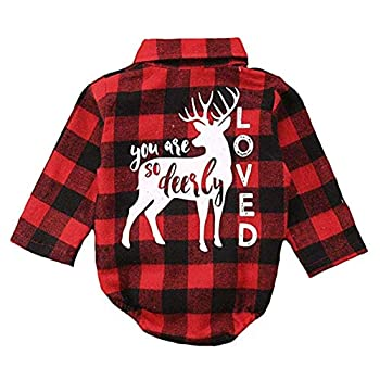Newborn Baby Girl Boy Plaid Romper Flannel Bodysuit Xmas Blouse Christmas Clothes Outfit  Red 3-6 Months