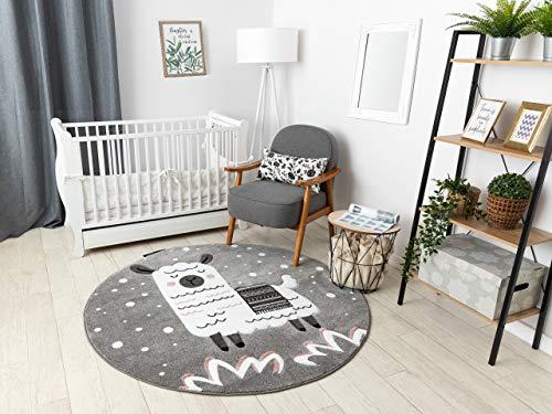 Kindertapijt Petit voor babykamers, Speel vloerkleden, Kinderkamer, Lama Grijs cirkel 120 cm