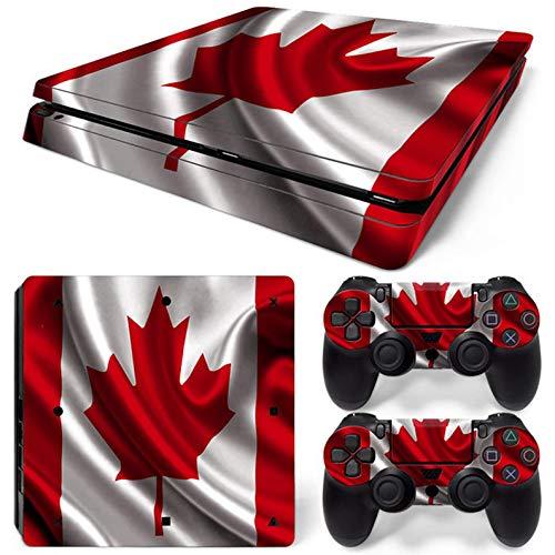 PS4 Slim Skins für Konsole und Controller von 46 North Design, gleiche Aufkleberqualität für Autos, Red Leaf Canada Flag White Canadian Banner Symbol Maple Happy, Passform PS4 Slim, Made in Canada