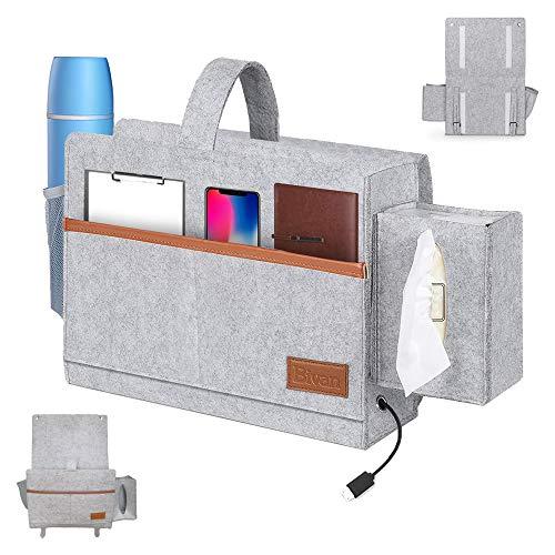 YASQZ Bedside Organiser Pocket, Sofa Bed Felt Storage Bag with Drink Holder Tissue Box, Bedside Caddy Pocket/Bedside Tidy Organiser for Laptop Phone Remote Books Magazines Bunk Bed Accessories, Grey