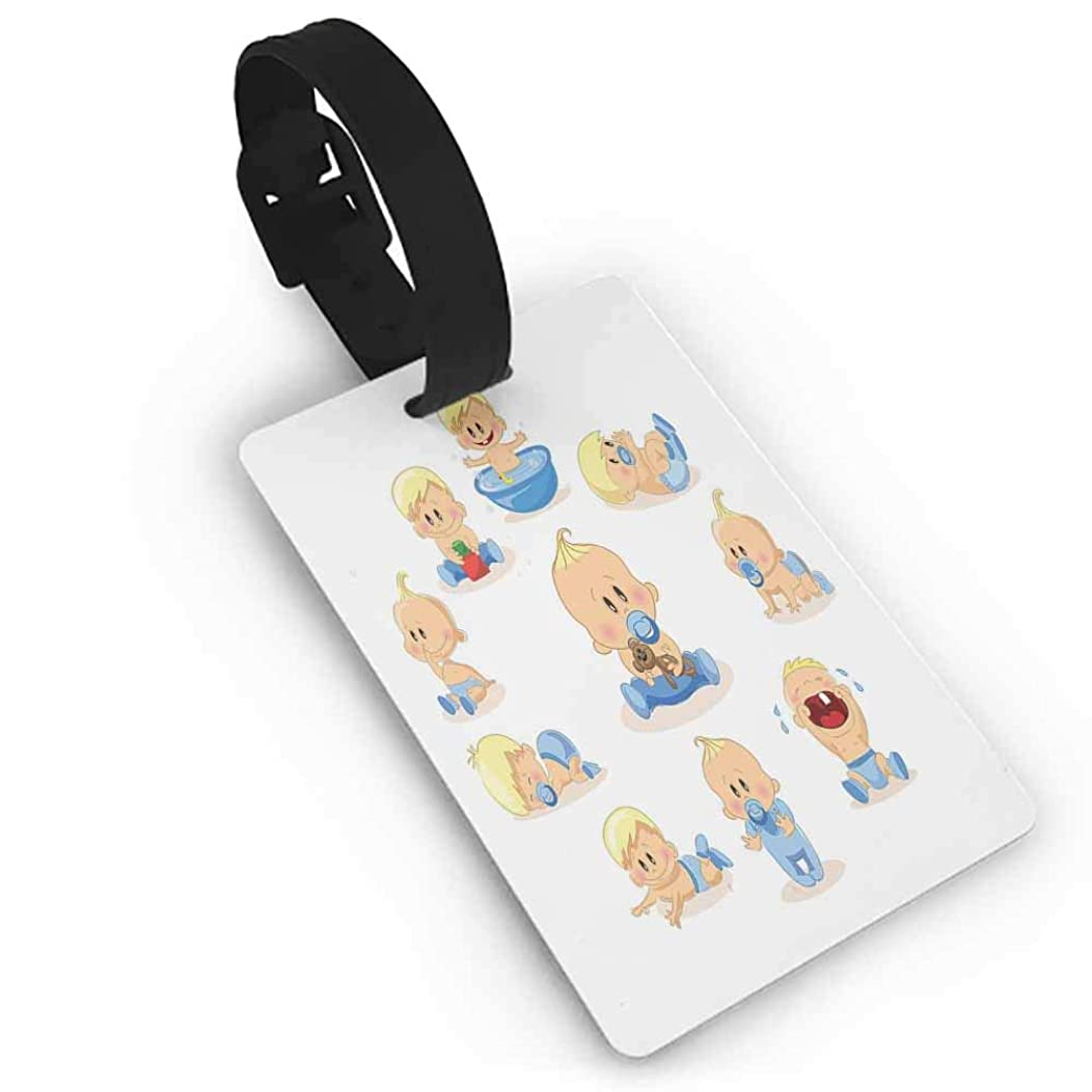 Boarding Tags Luggage Tag,Baby,Baby Boy Crying Walking Playing with Toys Sleeping Goofy Infant Person Happy,Multicolor One Size Straps Suitcase Ivory Pale Blue