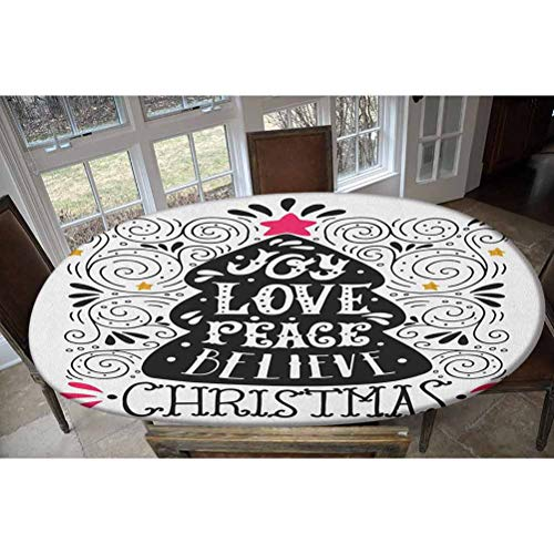 Joy Elastic Polyester Fitted Table Cover,Abstract Christmas Tree Pattern with a Tree Topper Curlicues Swirled Lines Decorative Oblong/Oval Dinner Fitted Table Cloth,Fits Tables up to 48' W x 68' L
