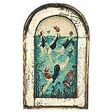 Hapivida Cuadro de Pared Vintage Boho Decoración Rústica Color de Madera Mujer Nadando En El Agua Patrón para Sala de Estar Comedor