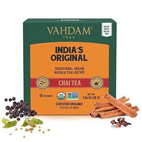 Bustine di tè originali Masala Chai Latte, 30 bustine di tè, SPEZIE NATURALI 100% - Mescolato confezionato in India, tè nero, cardamomo, cannella, pepe nero e chiodi di garofano