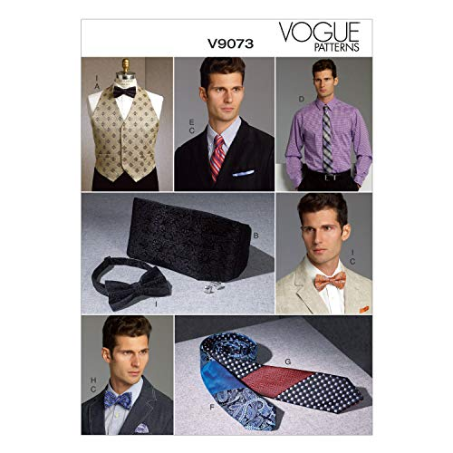 VOGUE PATTERNS - 9073–OS Taille: 86–91 cm - 96–101/42–44/46–48/50–52 Men's Vest/Cummerbund de Poche carré et Liens