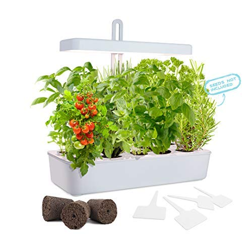 GrowLED LED Height Adjustable,10-Pod Indoor Garden Germination Kit, Self Watering Herb Garden, Hydroponic Kitchen Garden, Automatic Timer, Smart Soil Sponge, Ideal for Various Plants, DIY Decoration