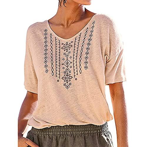 PRJN Top de Verano para Mujer Camisas de túnica con Estampado Floral para Mujer Blusa de Manga Corta con Cuello en V Blusa Informal Camiseta con Cuello en v para Mujer, Camisa de Manga Corta
